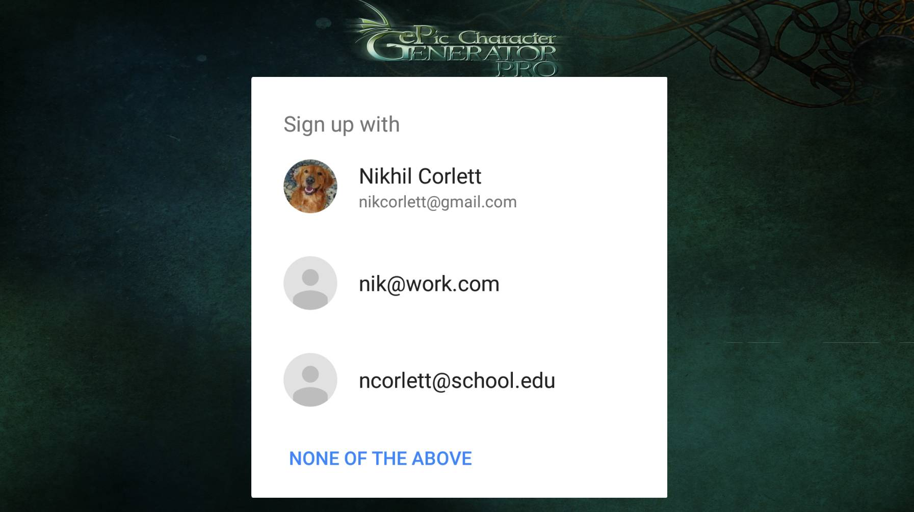 ePic Character Generator Google Signin