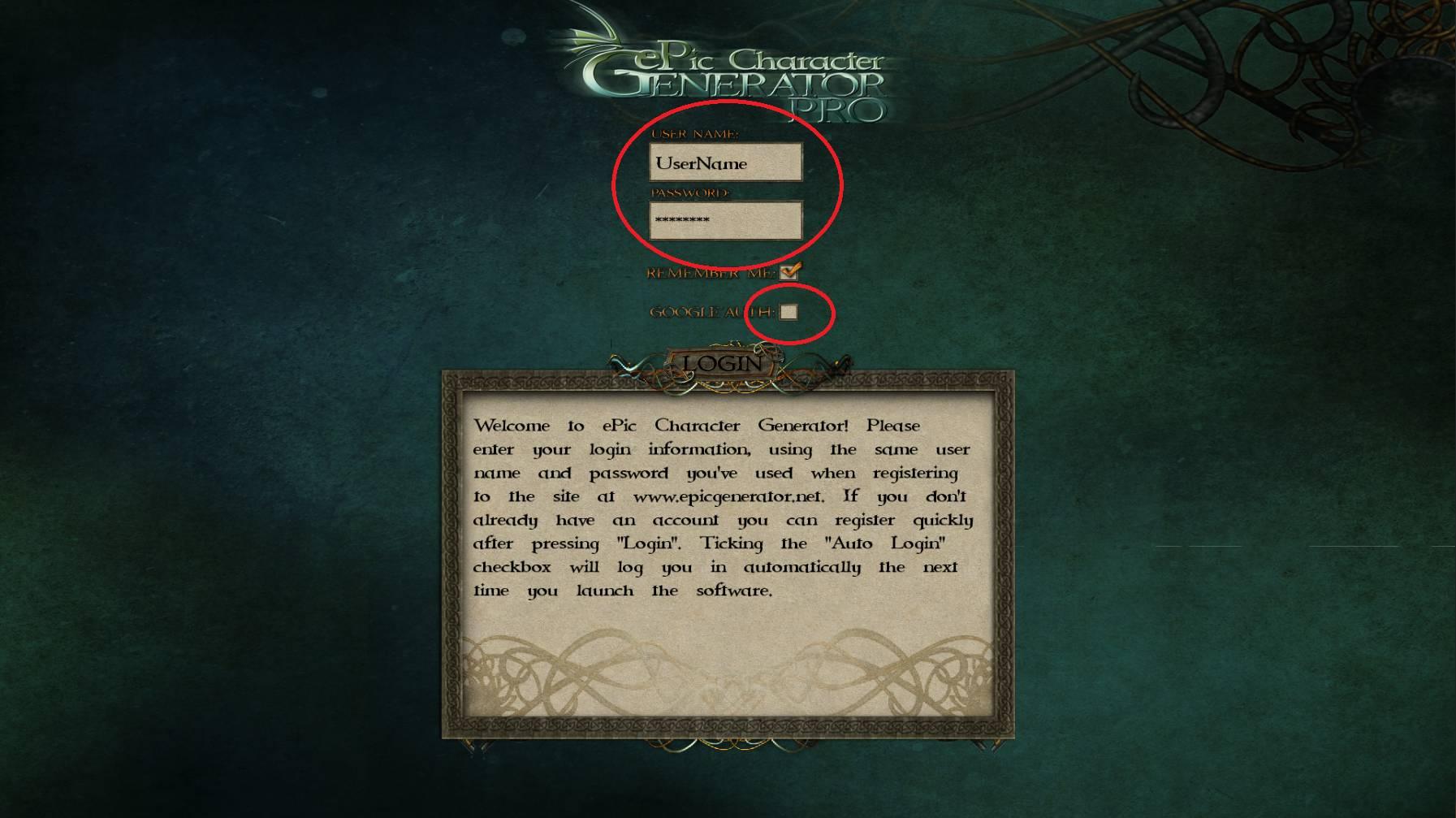 ePic Character Generator Login Details