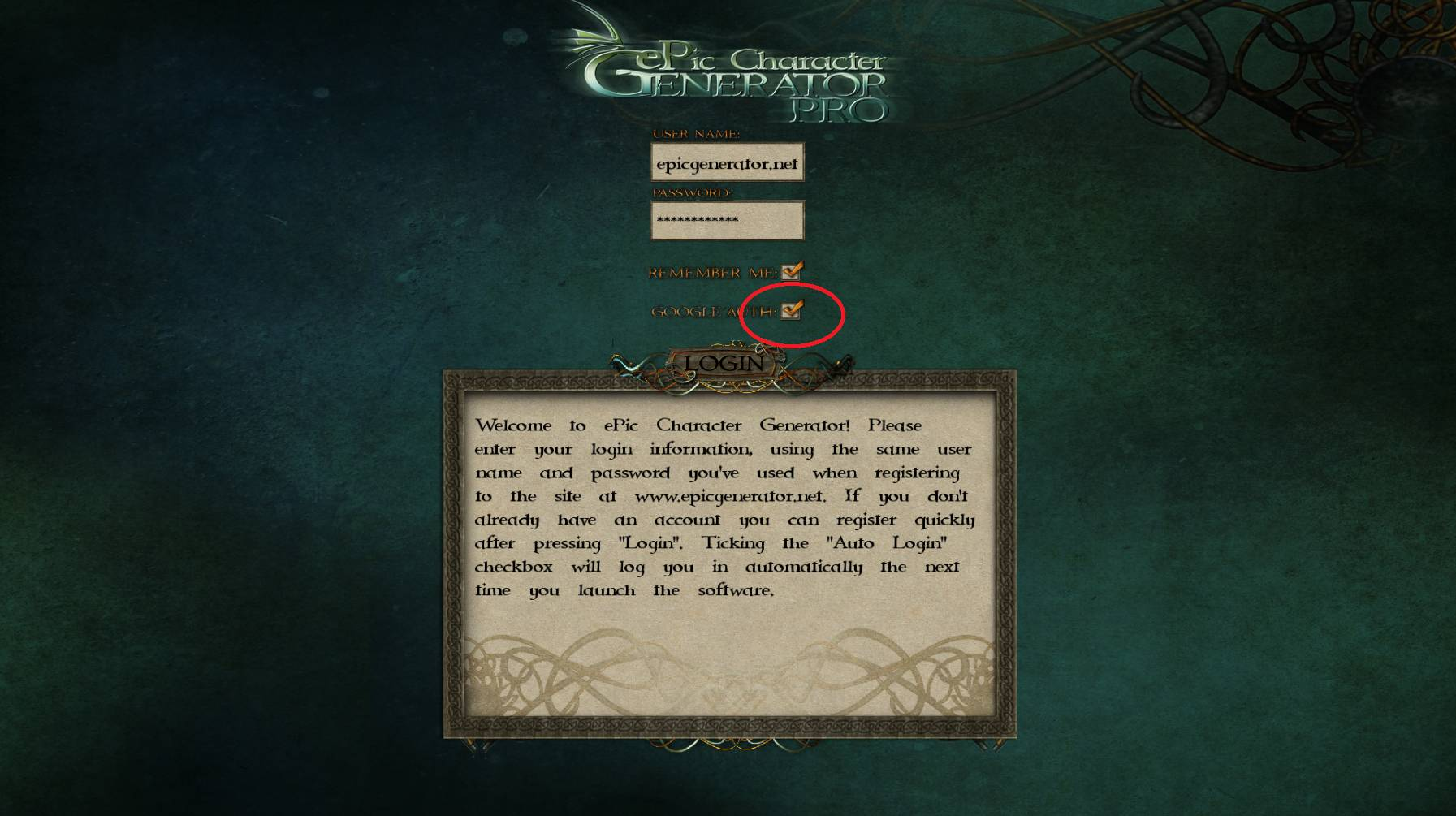 ePic Character Generator Login Google Auth