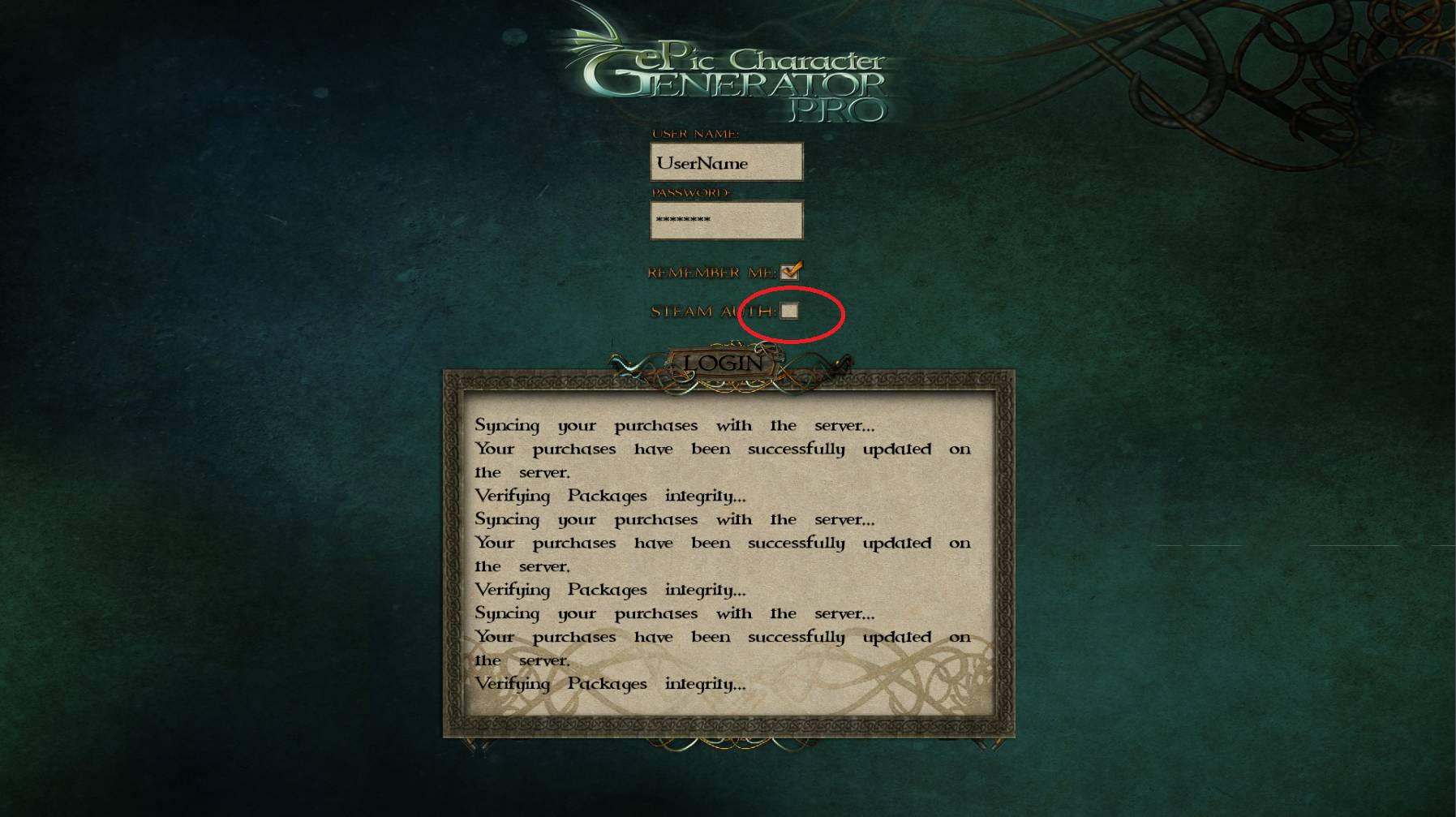 ePic Character Generator Login Steam Auth